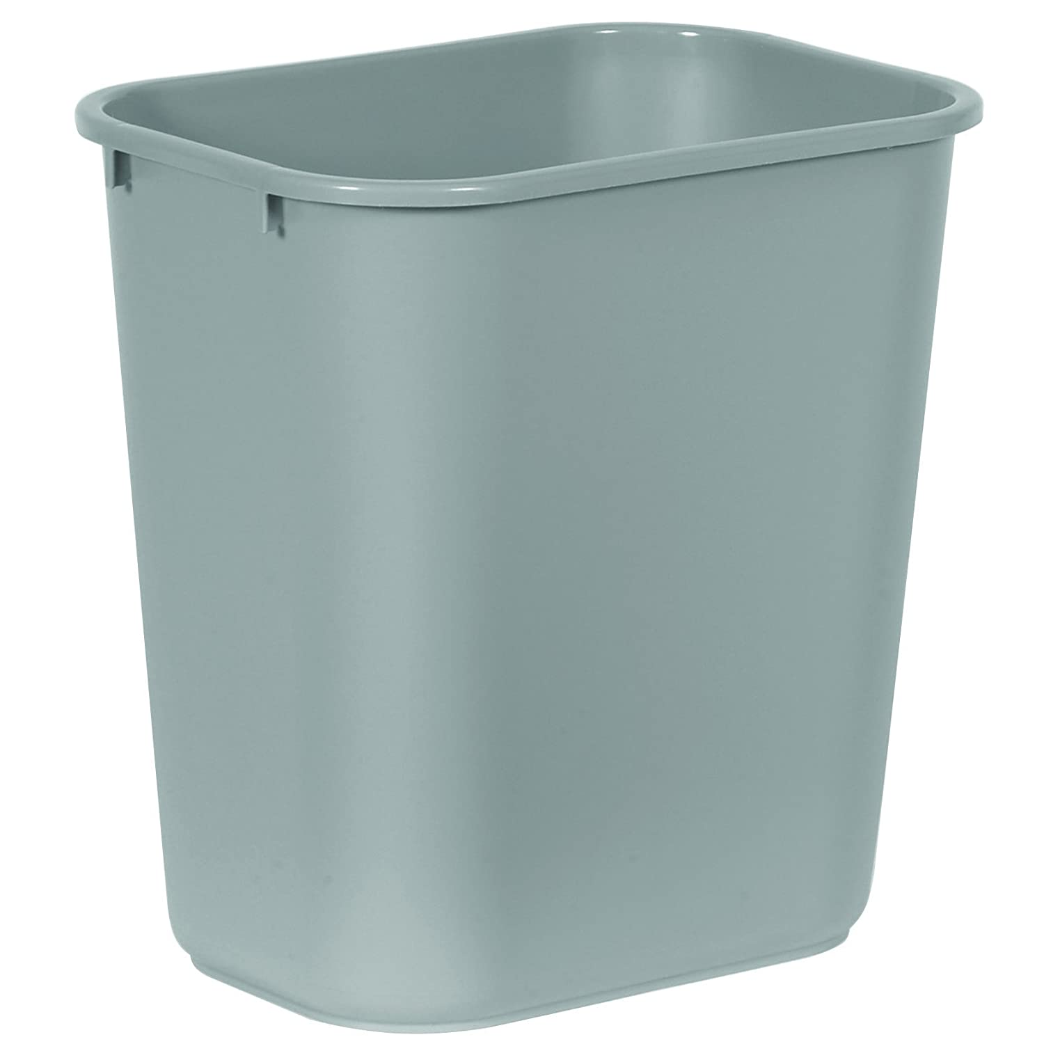 "Rubbermaid Commercial 2956 LLDPE 28-1/8 Quart Deskside Medium Trash Can, Rectangular, 10-1/4"" Width x 14-3/8"" Depth x 15"" Height, Gray"