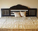 Indian Mirror and Patchwork Cotton Bedspreads (Camel)