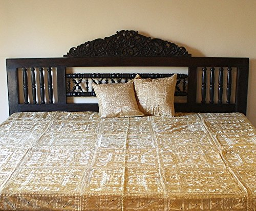 Indian Mirror and Patchwork Cotton Bedspreads (Camel) by Worldcraft Industries