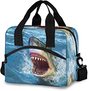 Insulated Tote Lunch Bag-Firce Shark Attack Removable Adjustable Shoulder Strap for Women Reusable Cooler Lunch Box for Work School Picnic