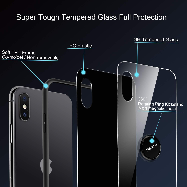 HBorna iPhone X Hülle,Kratzfest Gehärtetes Glas Rückschale Schutzhülle & Schutzfolie TPU Bumper mit 360 Grad drehbarer Ring Ständer for Apple iPhone X, iPhone 10 (Schwarz)