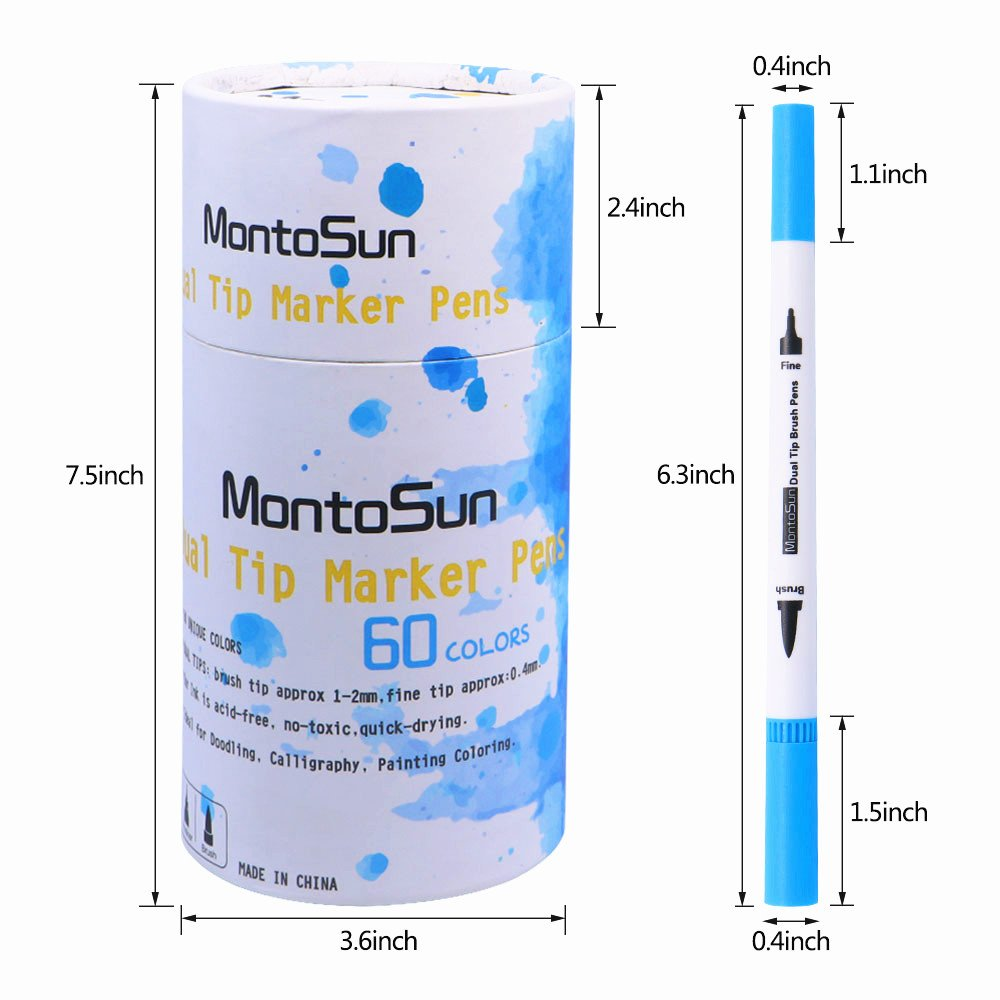 60 Dual Tip Brush Pens Art Markers,MontoSun Coloring Marker Pens Fine Liners and Brush Tip Colored Pen for Adult Drawing Sketching Painting by MontoSun (Image #7)