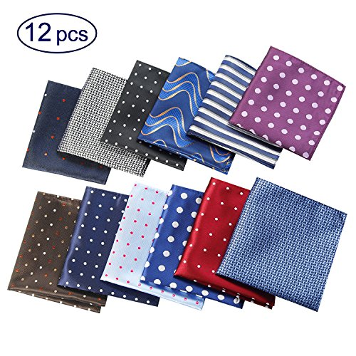 12 Pack Mens Pocket Squares Handkerchief Assorted Polka Dots For Wedding Party Gift (Style 3)