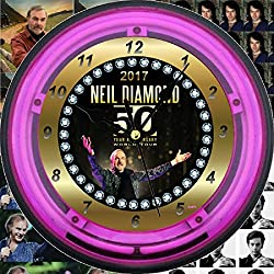NEIL DIAMOND's 2017 50th Anniversary World Tour Neon Wall Clock - 11 PINK