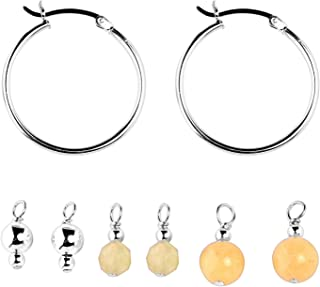 product image for Carolyn Pollack Sterling Silver Bead Drops on Hoop Earrings