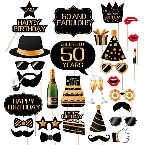 50th Birthday Photo Booth Props-50th birthday Photobooth Props For Men And Women-32 Pieces]()
