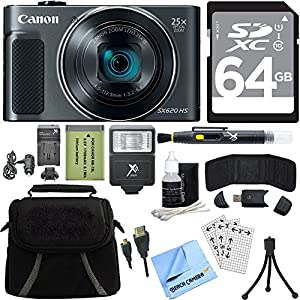 Canon PowerShot SX620 HS 20.2MP Digital Camera (Black) with 64GB Card Accessory Bundle