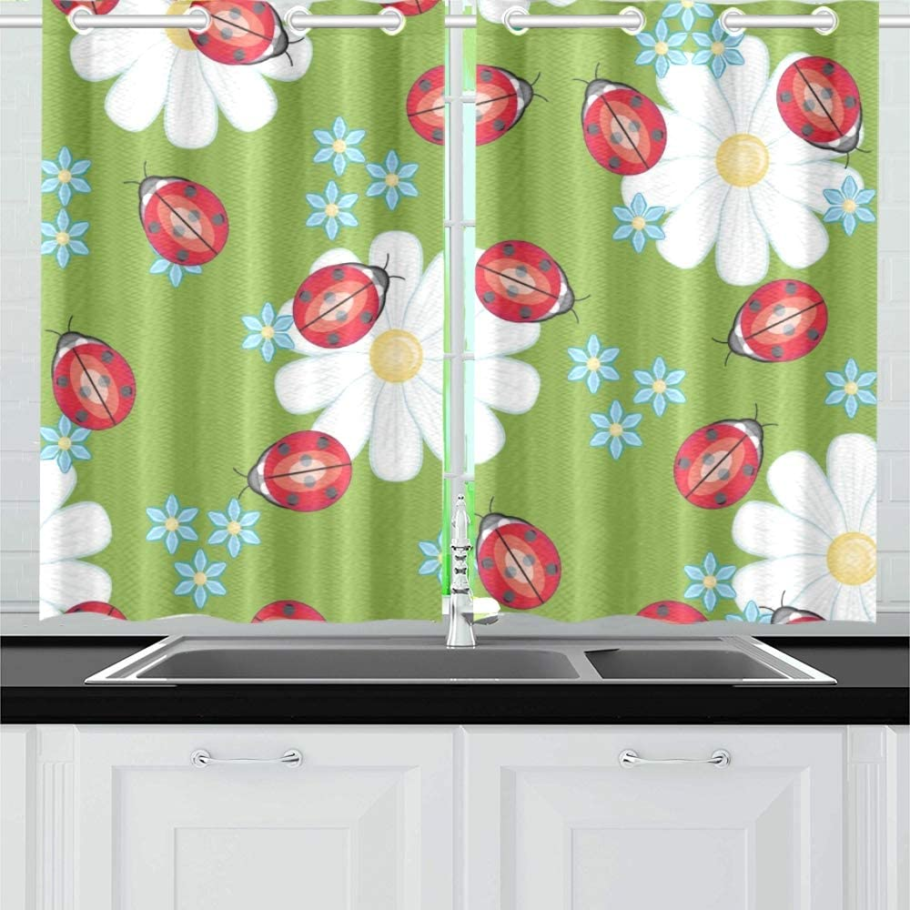 Jochuan Ladybug Kitchen Curtains Window Curtain Tiers For Café Bath Laundry Living Room Bedroom 26 39 Inch 2 Pieces Amazon Co Uk Kitchen Home