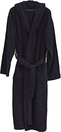 Heavy Hooded Terry Cloth Bathrobe Xxxl Full Length 100 Turkish Cotton Black At Amazon Men S Clothing Store