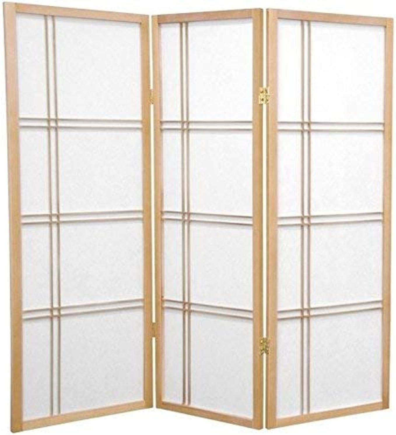 Oriental Furniture 4 ft. Tall Double Cross Shoji Screen - Natural - 3 Panels