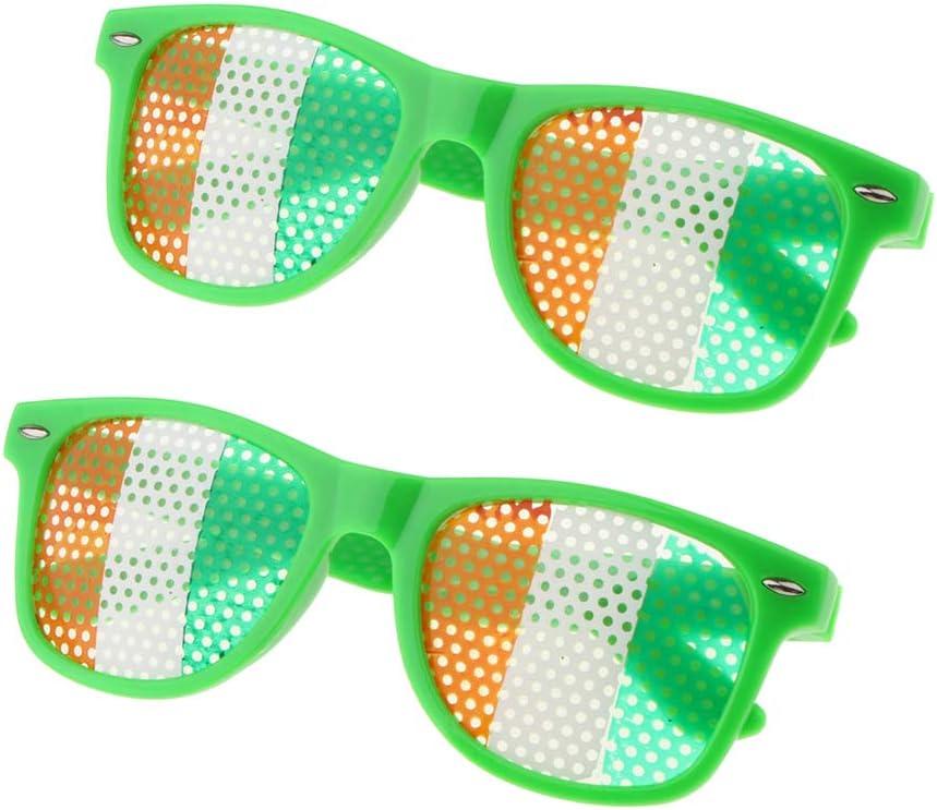 IPOTCH 2pcs Gafas de Trébol con Bandera Irlandesa Gafas de Disfraz ...