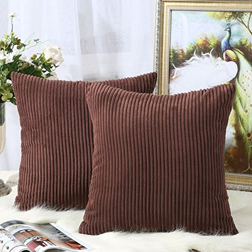 - Miaote Pack of 2 Decorative Throw Pillow Covers Cases for Couch Bed Sofa,Striped Corduroy Velvet Cushion Covers for Baby, 18 X 18 Inches,Brown
