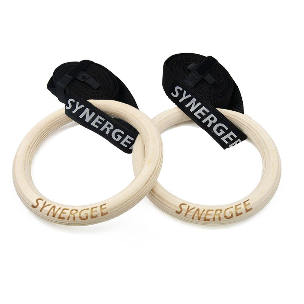 iheartsynergee 8'' Diameter Wood Olympic Gymnastics Rings with Adjustable Straps for Crossfit Pull Up | Dips | Muscle Ups