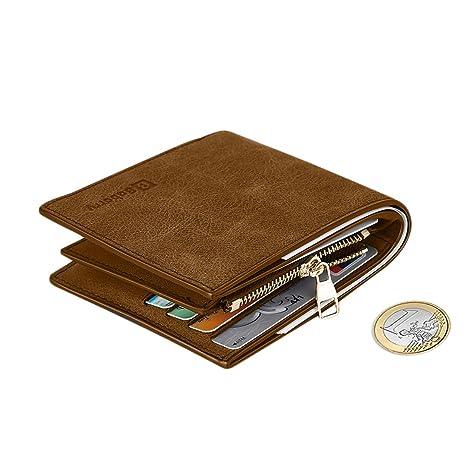 60a332ce0 MPTECK @ Marró Cartera para hombre Estilo plegable Monedero Billetera de PU  Cuero con Bolsillo para
