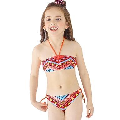f0b4a81e8783c VENMO Boho Printed Two Pieces Toddler Girls Swimsuit Cute Kids Bikini Set  Halterneck Swimwear Bathing Suits: Amazon.co.uk: Clothing
