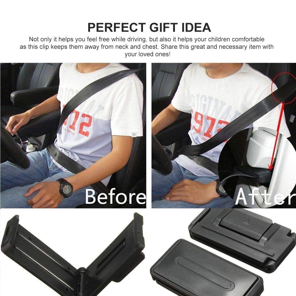Car Seat Belt Adjuster Smart Adjust Seat Belts to Relax Shoulder Neck Give You a Comfortable and Safe Experience Seatbelt Clips 2PCS SilveryB