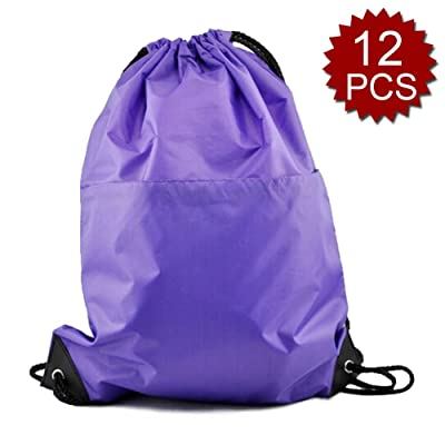 durable service Opromo 12-Pack Polyester Water-Repellent Drawstring Backpack with Front Zipper