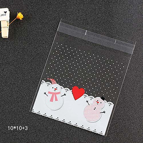 (Hot 25pcs/lot Cute Snowflake Snowman Santa Xmas Christmas Gifts Holders Bake Biscuit Cookies Candy Jewelry Packaging Bags 2018)