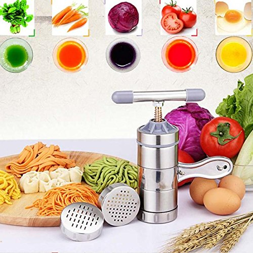ViewHuge Stainless Steel Manual Noodle Maker Machine Pasta Spaghetti Maker Vegetable Fruit Juicer Press Machine With 5 Models