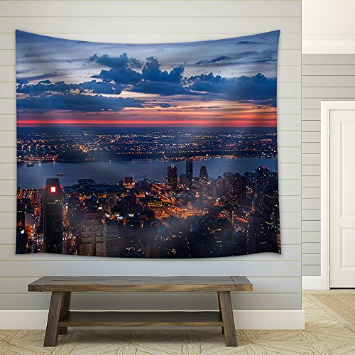 View on New York and New Jersey after Sunset Fabric Wall