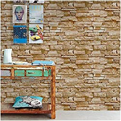 HaokHome 1619 Faux Stone Peel and Stick Wallpaper Lt.Grey/Sand Self Adhesive Contact Paper