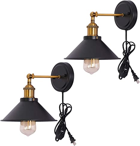 Kingmi Wall Lamp Dimmable Wall Sconce Plug In Black Industrial Antique Vintage Wall Lamp Fixture Lighting Simplicity Arm Swing Wall Lights For Doorway Bedroom Nightstand Set Of 2 Amazon Com