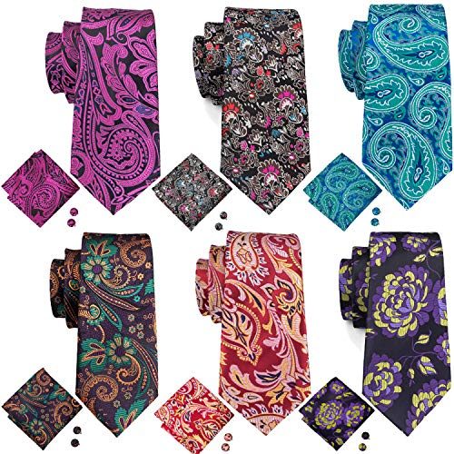 Barry.Wang Mens Paisley Tie Set Silk Woven Red Purple Green Tie Pocket Square Cufflinks 100% Silk Woven Green
