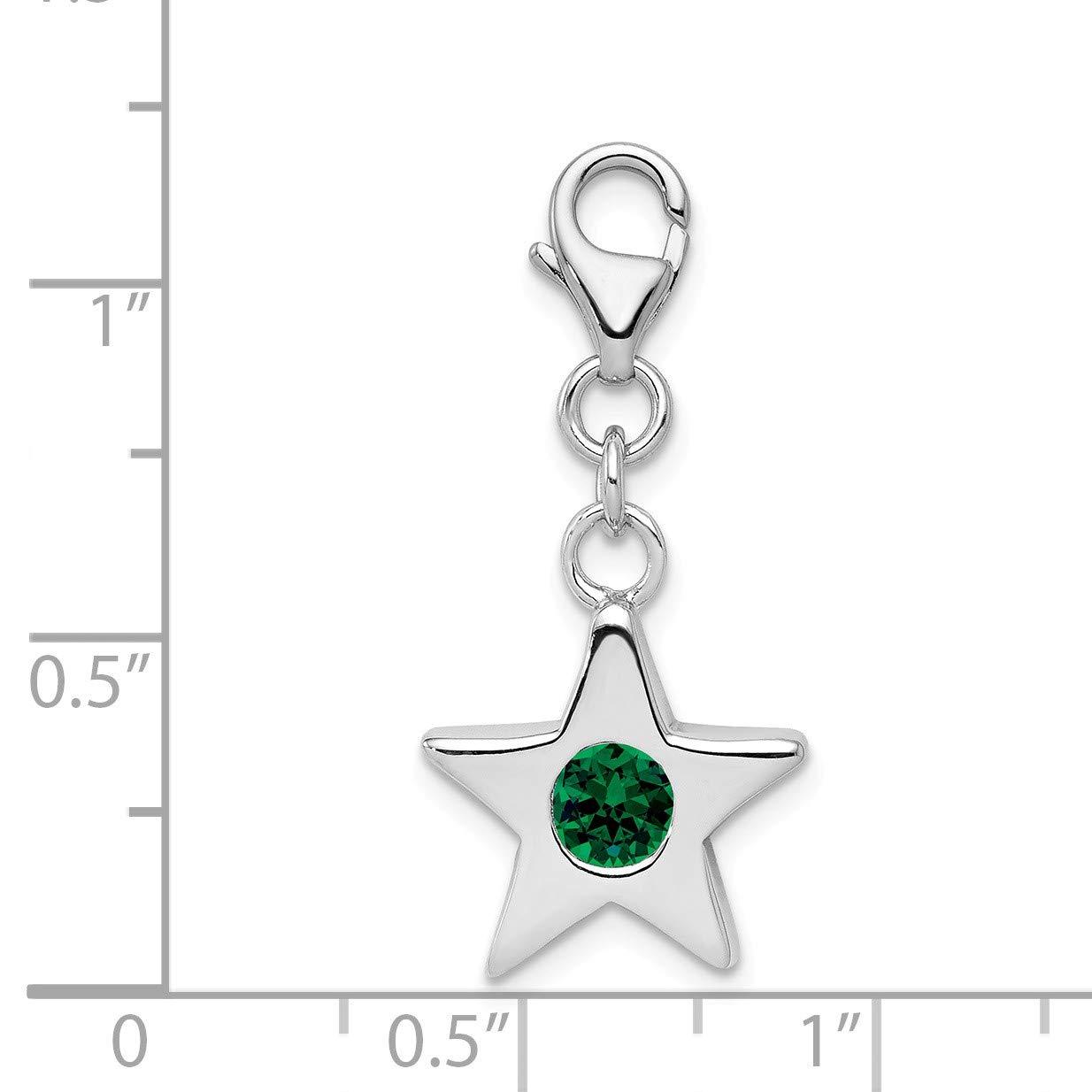Sterling Silver May CZ Birthstone 13mm Star Clip-on Charm