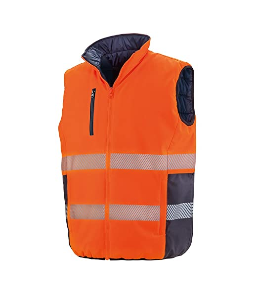 dd548981f16 Result Safe-Guard Reversible Soft Gilet Adult Sleeveless Plain Workwear  Stylish Mens Safety Gilet: Amazon.co.uk: Clothing
