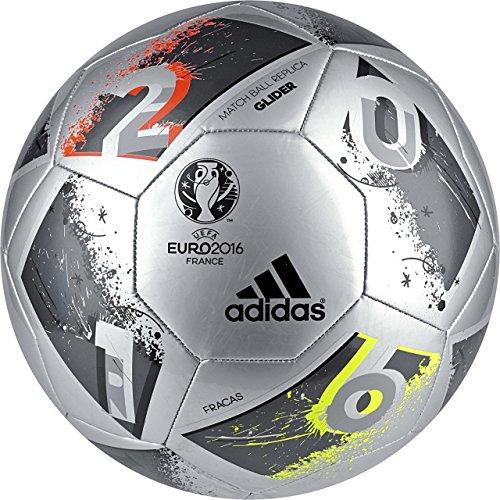 Adidas Performance Euro 16Planeador–Balón de fútbol, Plateado, Verde (Silver Metallic Grey/Night Metallic/Matte...