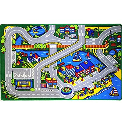 Mybecca Kids Rug Harbor Children Area Rug 5' X 7' (New Street Map Design) Race Track and Resting Area