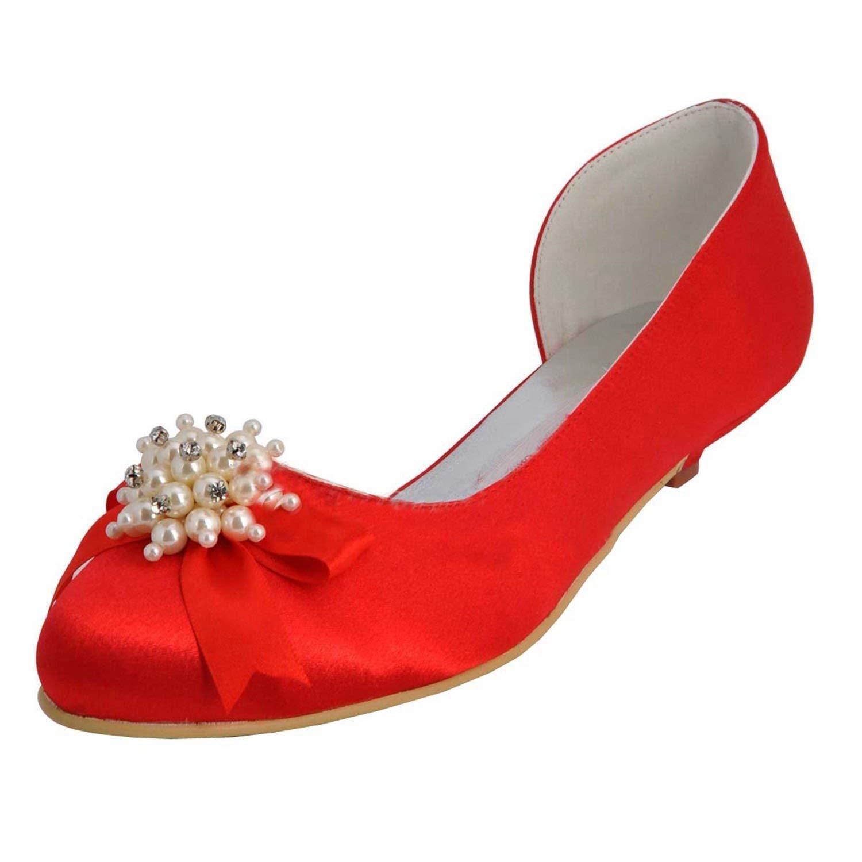 Qiusa damen Kitten Heel Satin Hochzeit Abend Prom Pumps Schuhe (Farbe   rot-3cm Heel, Größe   7.5 UK)