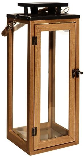 Laterne Holzlaterne Gartenlaterne Windlicht 21cm Dekoration Garten Kerze