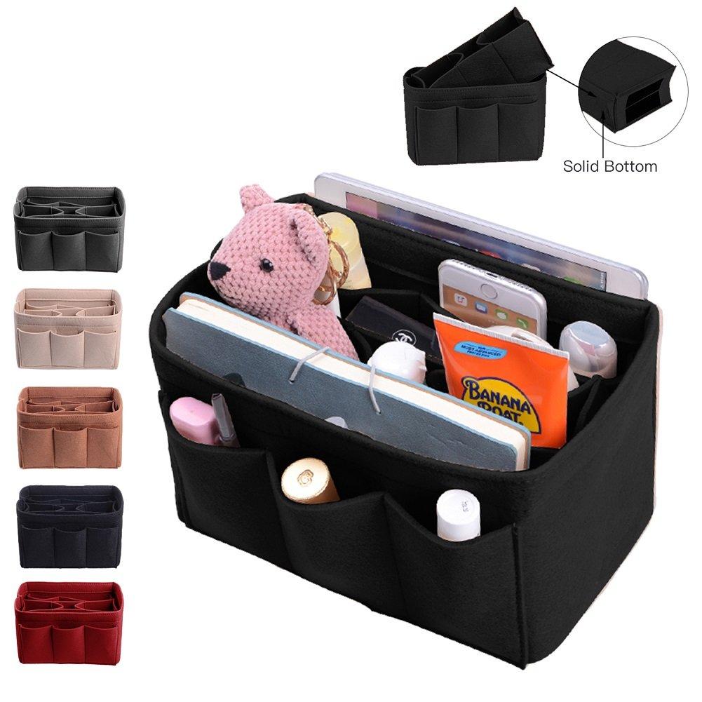 Purse Organizer, Bag Organizer With Sewn Bottom Insert New Design, Medium, Large (Large, Black)