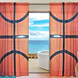 SEULIFE Window Sheer Curtain Sport Basketball Voile Curtain Drapes for Door Kitchen Living Room Bedroom 55x78 inches 2 Panels
