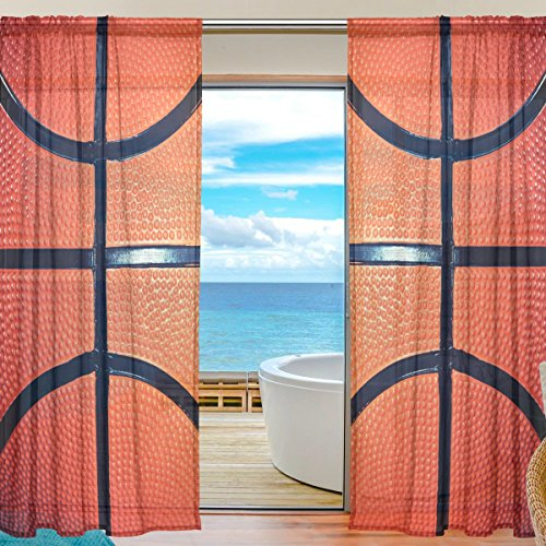 SEULIFE Window Sheer Curtain Sport Basketball Voile Curtain Drapes for Door Kitchen Living Room Bedroom 55x78 inches 2 Panels by SEULIFE