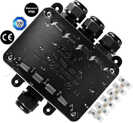 Caja de conexiones de 4 vías, conector de cable impermeable IP66, caja de conexiones electrico estanca para exterior negro para cable 5-10 mm para iluminación de jardines subterráneos: Amazon.es: Bricolaje y herramientas