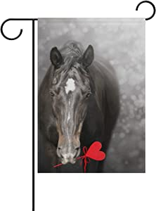ALAZA Double Sided Valentine's Day Black Horse with Heart Polyester Garden Flag Banner 12 x 18 Inch for Outdoor Home Garden Flower Pot Decor