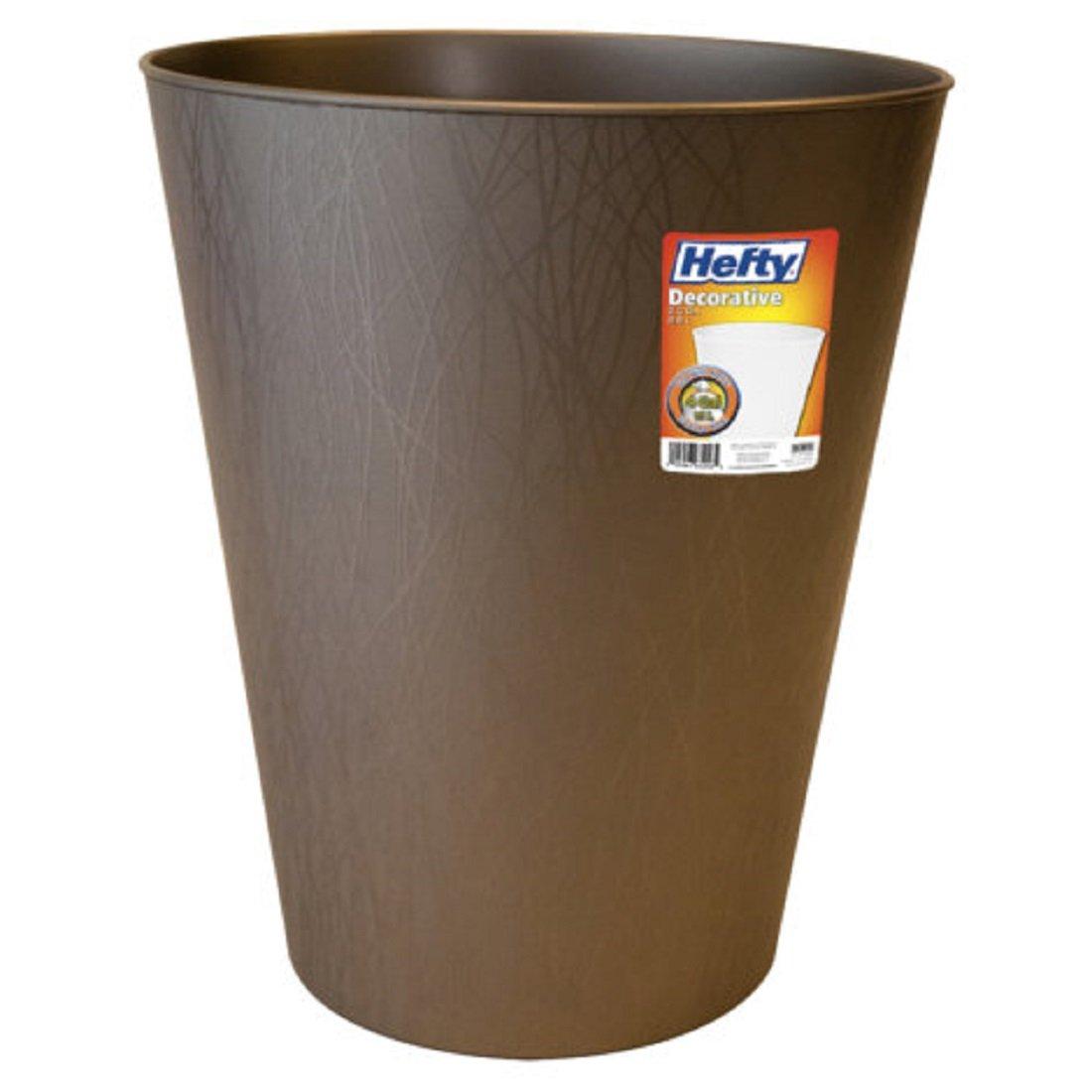 Hefty Decorative Textured Multi-Purpose Oval Wastebasket with Willow Pattern - durable plastic, lightweight - 2.3 Gallon (Bronze)