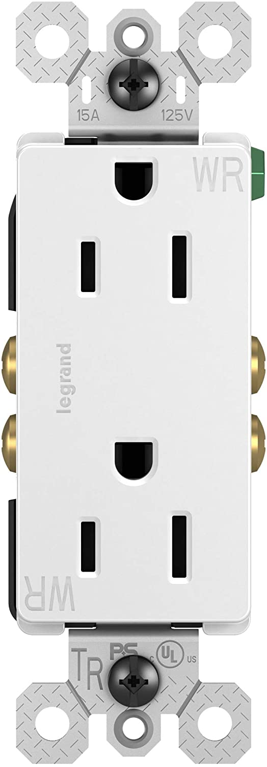 Legrand radiant 15 Amp Decorator Receptacle Tamper Resistant Outlet, Weather Resistant, White, 885TRWRWCC8
