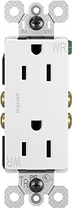 Legrand radiant 15 Amp Decorator Receptacle Tamper Resistant Outlet, Weather Resistant, White, 885TRWRWCC8