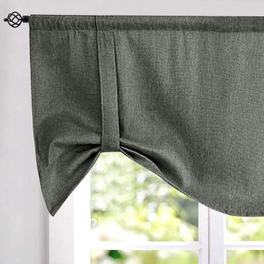 Tie Up Curtains for Windows Linen Textured Room Darkening Adjustable Tie up Shade for Kitchen Rod Pocket Tie up Valance 1 Panel 18 Inch Dark Grey
