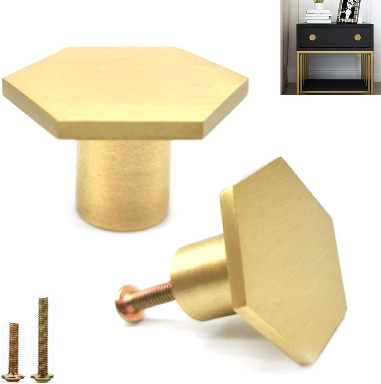 6 Pcs Solid Brass Cabinet Knobs,Gold Pure Copper Brushed Hexagon Decorative Dresser Knobs Drawer Pulls ,for Kitchen Hardware Cupboard Handles 1.34