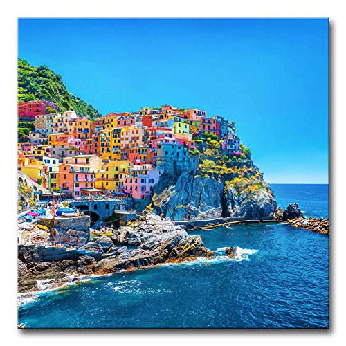 Wall Art Decor Poster Painting On Canvas Print Pictures Cityscape Traditional Port Mediterranean Sea Cinque Terre Italy Coast Landscape Framed Picture for Home Decoration Living Room Artwork