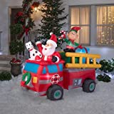83.86 in. W x 40.16 in. D x 68.50 in. H Lighted Inflatable Santa's Fire Truck Scene
