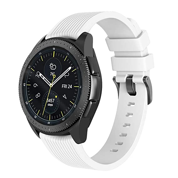 NotoCity 20mm Band Compatible Samsung Galaxy Watch 42mm Silicone Watch Band for Samsung Gear Sport/Garmin Vivoactive 3/Huawei 2 Smartwatch (White, ...