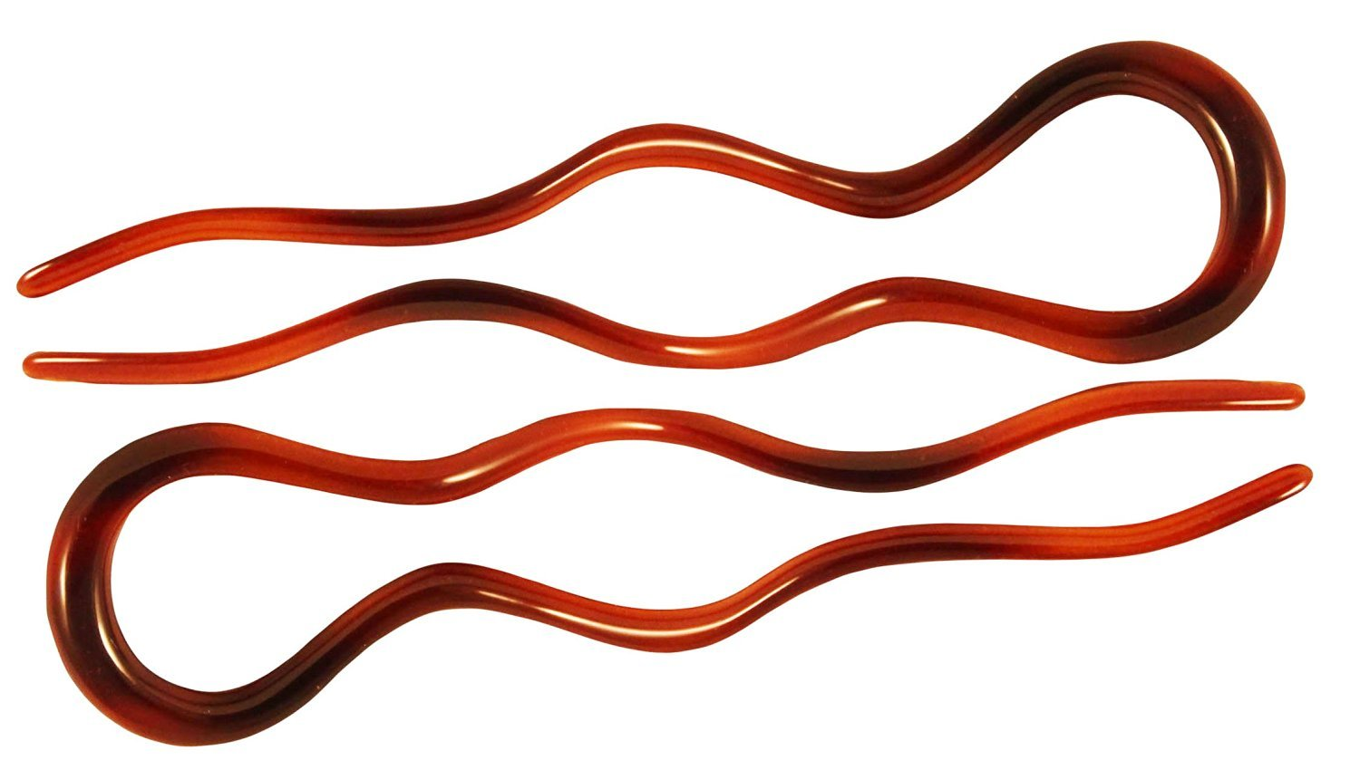 Parcelona French Wavy Crink U Shaped Tortoise Shell 4 inch Large Set of 2 Hair Pins
