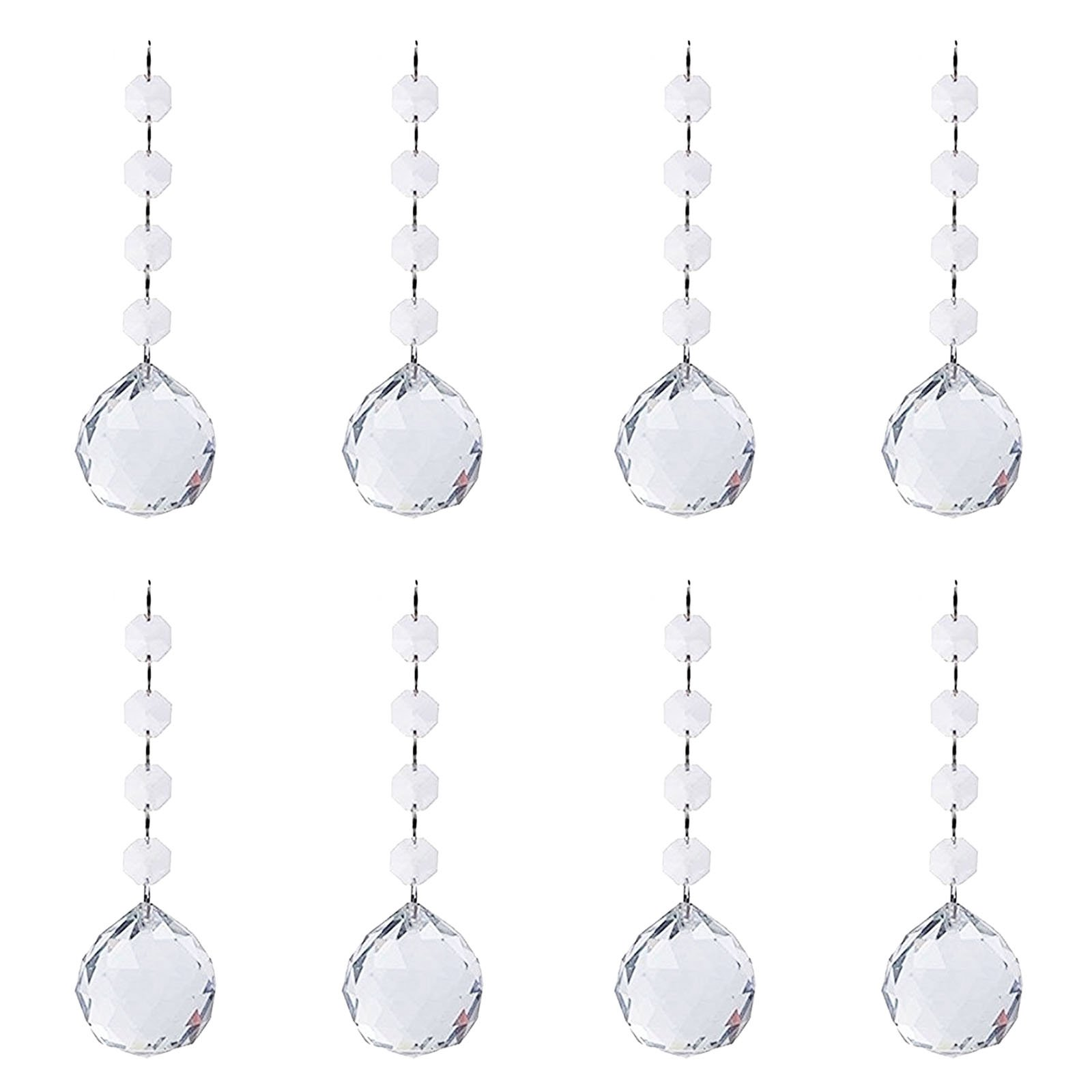 BIHRTC Pack of 8 Clear Faceted Crystal Glass Ball Chandelier Prisms Ceiling Lamp Lighting Hanging Drop Pendants Suncatcher for Wedding Home Office Decoration