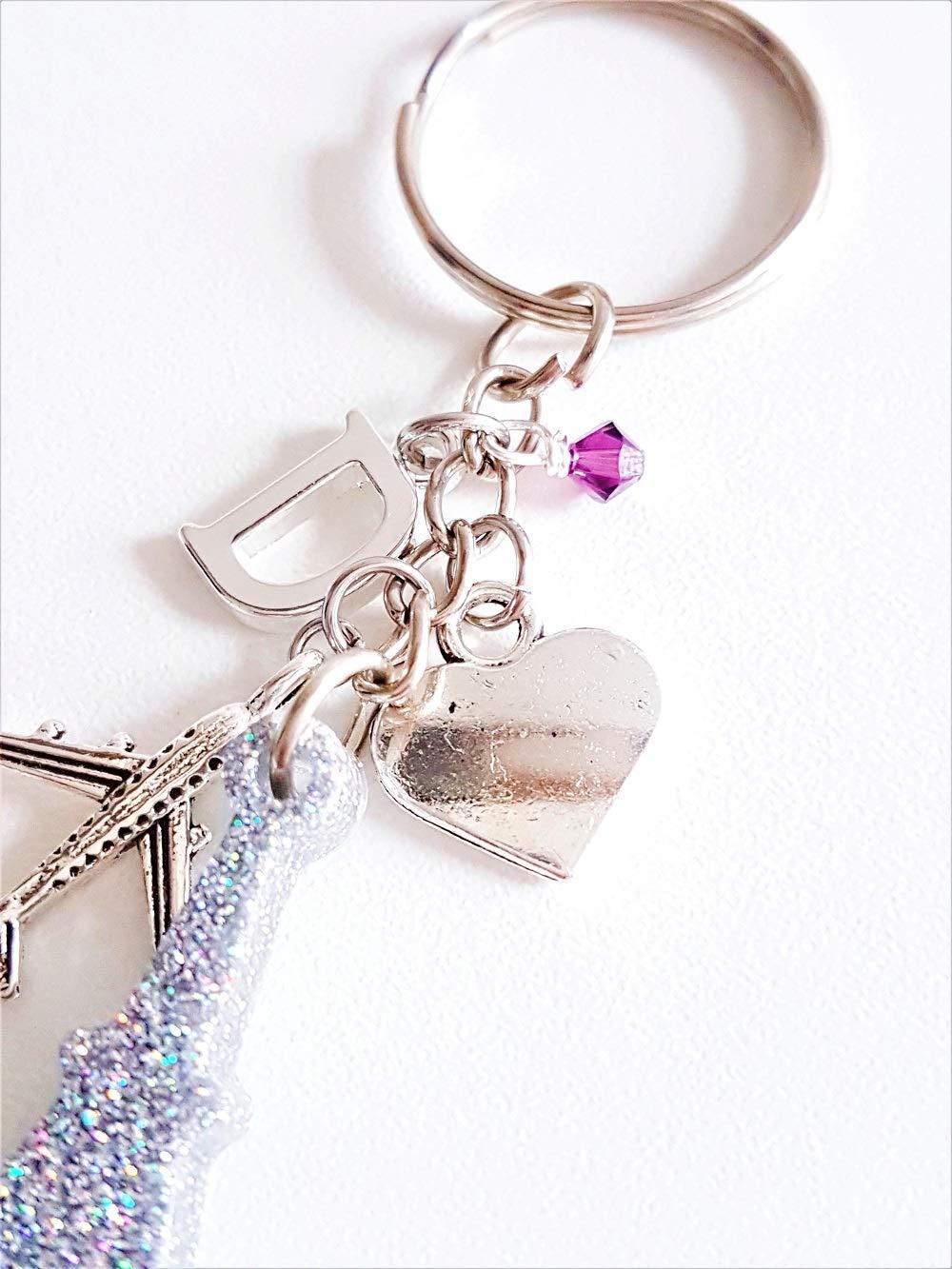 Handmade Eiffel Tower Paris Resin Glitter Charm Keyring Keychain with Genuine Crystal