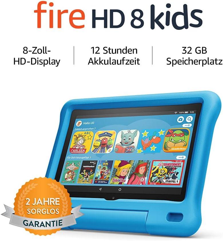 Fire HD 8 Kids Edition tablet   8 Inch HD display, 32 GB, Blue Kid-Proof Case